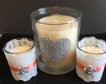 Triple candle holder set, wedding display, lace and ribbon