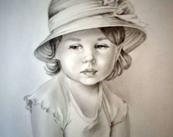 Custom portrait, personalized portrait, child portrait, custom portrait , pencil drawing , dry brush oil technique , child portrait on Photo