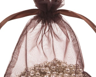 100 Chocolate Organza Gift Pouch Wedding Favour Bag Jewellery Pouch- 6 Sizes