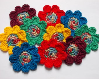 10 crochet flowers - 5 cm - stained