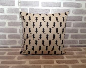 Black cat pillow cover, cat cushion cover, Black cat,  christmas present, cat pillow
