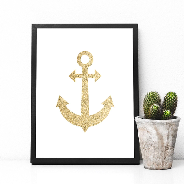 Gold Anchor Wall Decor : Gold anchor print wall art