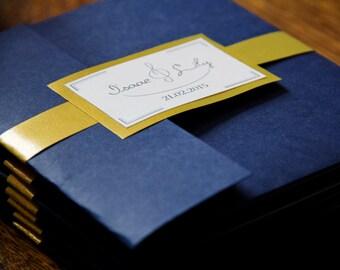 Navy & Gold Pocket Fold Invitations