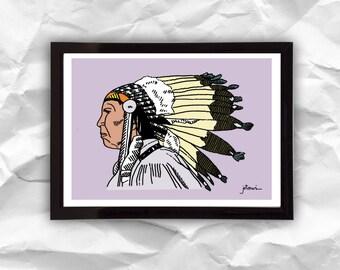 Print Native American, digital illustration