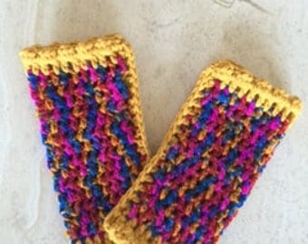 Handcrafted crocheted fingerless gloves - mittens - Made in Australia
