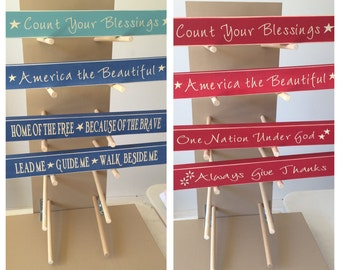 """12"""" Wooden Signs- Blue,Teal or Red"""