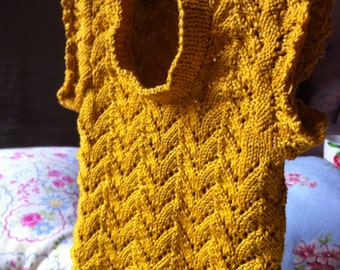 Knitted Horseshoe Lace / Baby Slipover / Mercerised Cotton / Mustard Yellow