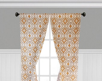 Orange Gray Taupe Curtains Geometric Print Window Treatments Curtain Panels  Living Room Dining Room Home Decor