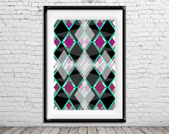 Geometric Art Poster Print Fusia Black Teal Diamonds