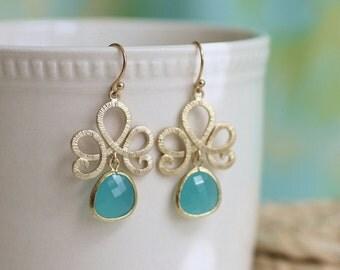 aqua glass earrings, aqua earrings, aqua and gold earrings, gold drop earrings, gold dangle earrings, glass earrings