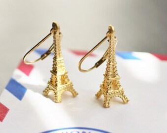 Eiffel Tower earrings, Paris earrings, La Tour Eiffel, gold earrings