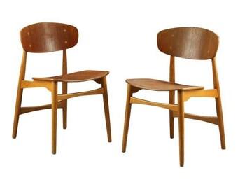 Pair of Danish Mid Century Modern Kofod Larsen in Teak & Oak Chairs