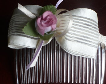 Ivory satin/Organza Bow Comb