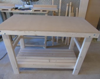 Handmade Wooden Workbench FLAT TOP - 2Ft, 3Ft, 4Ft and 5Ft - Made To Order!