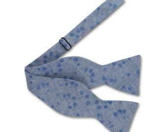 Floral denim Bow tie. Mens bow tie.