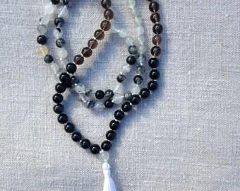 """Mala """"évolution"""" homme (ou femme) Obsidienne, Quartz fumé, Tourmaline et pierre de Lune"""