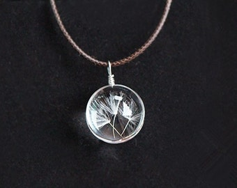 Dandelion Crystal Ball Necklace