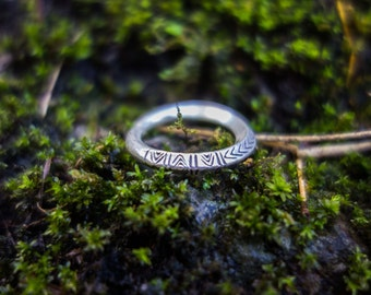 Boho tribal silver ring
