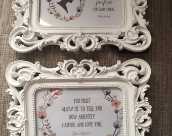 Two Beautiful Victorian Style Frames with Jane Austen Quotes