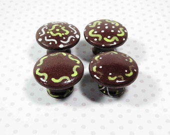 Chocolate Mint Squiggle Design Knobs. 4 Different Patterns.  Cute Way to Dress Up Dresser Drawers or Cabinet Doors. Great Housewarming Gift.