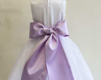 Buy 1 Get 1 Free Designer US Angels- LILAC  Satin Tapered Flower Girl Dress Sash