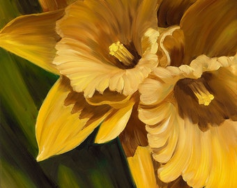 Companionable, a Limited Edition Print from an original oil painting of Daffodil flowers by artist Karen Hollis
