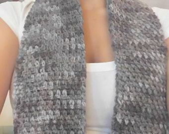 Gray Hand Made Crocheted Scarf