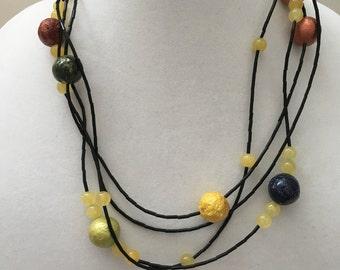 Multi Strand Black and Rainbow Beaded Necklace