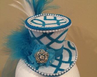 Mini Top Hat, Aqua, White, Pearls, Steampunk, Mad Hatter, Bridal Shower, Cosplay, Costume, Victorian, Fascinator,