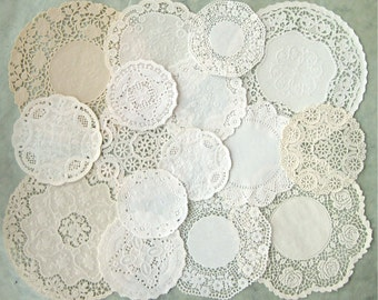 16 Vintage Paper Doilies Variety Collection Ivory Cream All Different Shabby Ephemera Lot