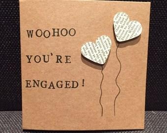 Woohoo You're Engaged Handmade Card