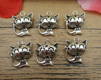 6 Cat Charms,Antique Silver Tone,3D Charms -RS308