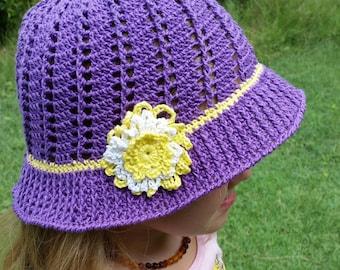 Girls Purple Crocheted Hat