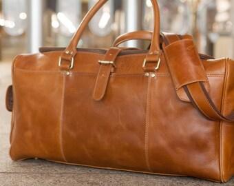 Buckled Brown Leather Weekender Duffel Bag