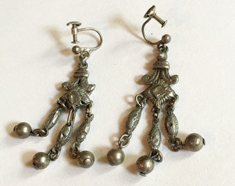 RARE Antique 1930's Screw-On Faux Black Pearl Earrings