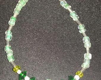 Glass and Plastic Green Gem Bracelet