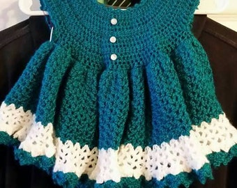 Size 6-9 months hand crochet baby dress and bloomers