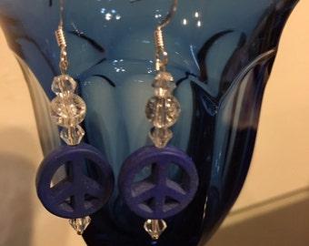 Sterling Silver Howlite Peace Earrings