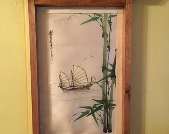 Oriental silk in handmade frame
