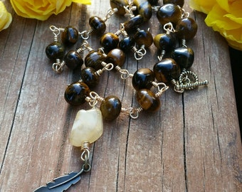 Tiger Eye Stone and Feather Charm Necklace
