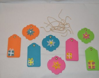Quilled Gift Tags, Set of 8 Colored Gift Tags, Flowers (4) and Presents (4)
