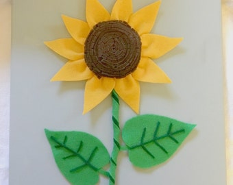 3D Felt Sunflower on Canvas