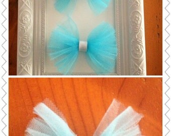 Tulle bow hair clips
