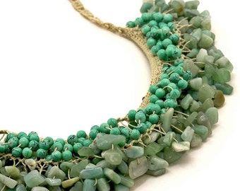 Knitted Turquoise Necklace