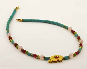 Crystal Necklace with Golden Elephant