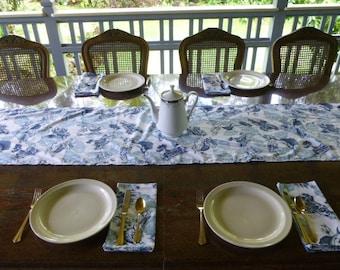 Blue swordfish table runner with 4 napkins.