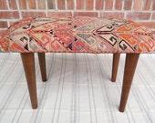 Kilim furniture , Vintage kilim upholstered small bench , Bench , Boho furniture