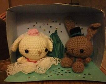 Hand Crocheted Wedding Bunnies