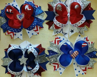 4th of July stacked boutique hair bow, patriotic hair now, red bow, blue bow, white bow, baby girl hair bow, twisted boutique bow