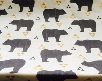 Changing pad cover or fitted crib sheet in Bears with golden triangles  Pack and Play sheet, mini crib sheet